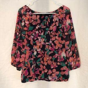 Ann Taylor XS Top Floral Print Green Purple 1036